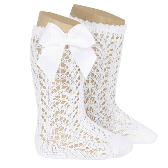 Condor Girls perle Openwork Bow Kee Socks White