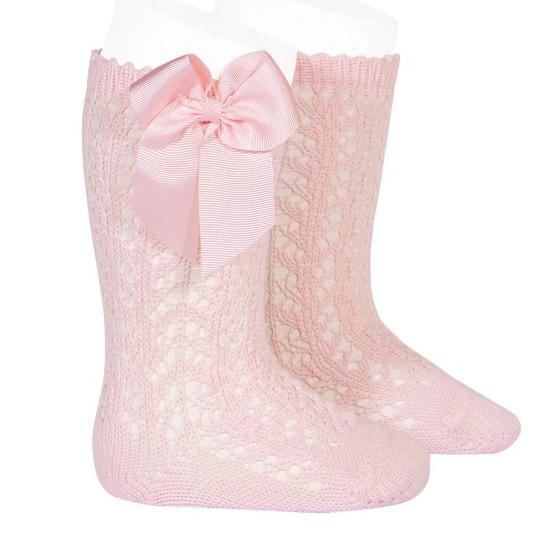 Condor Girls perle Openwork Bow Kee Socks Pink
