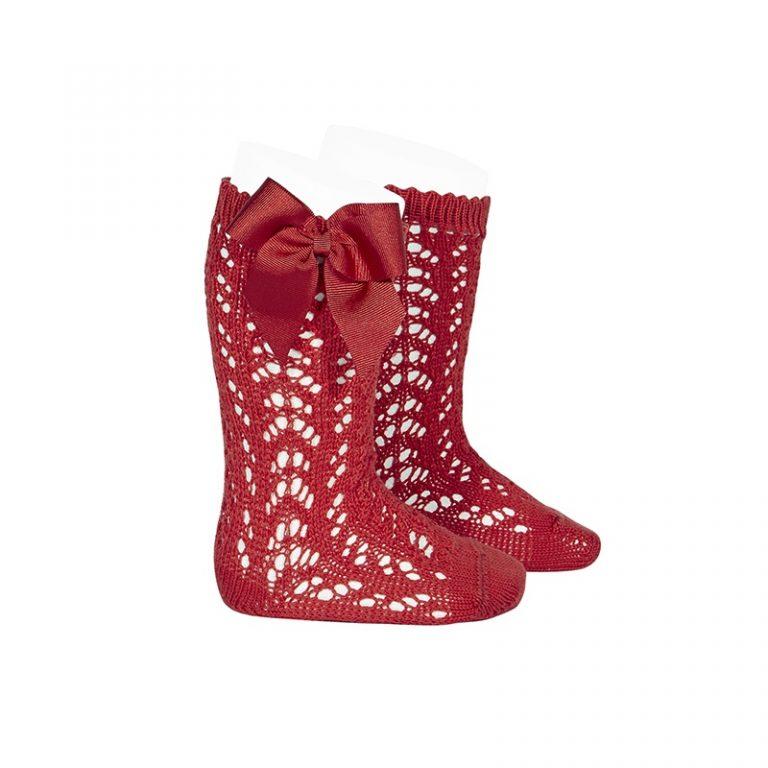 Condor Girls perle Openwork Bow Kee Socks Red