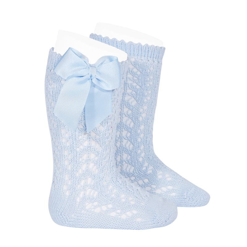 Condor Girls perle Openwork Bow Kee Socks Pale Blue