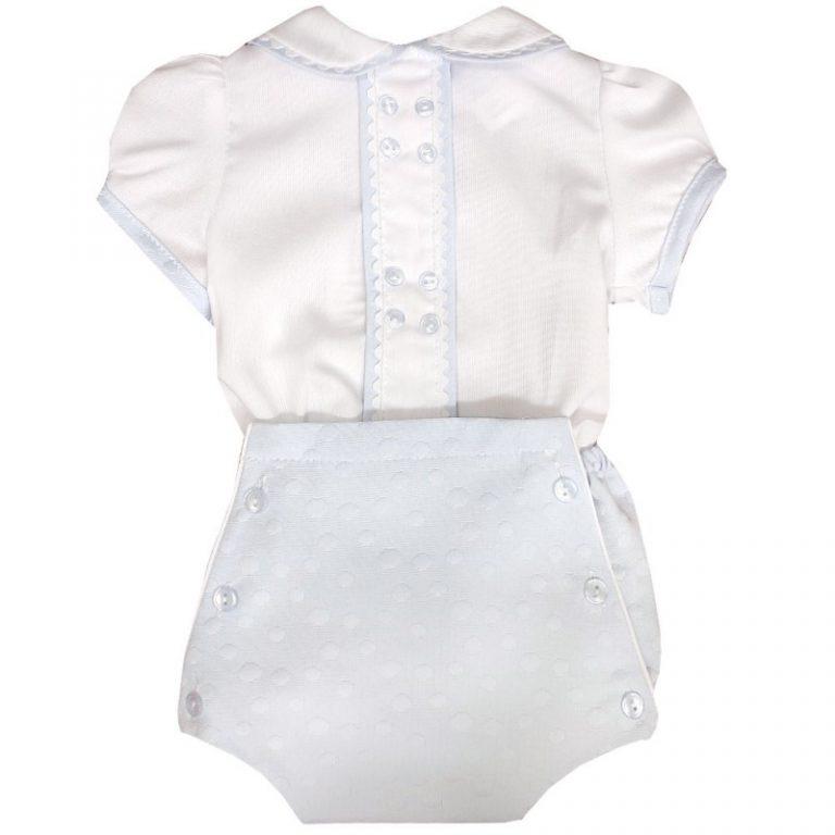 Dulce de Fresa Blue & White Stripe Romper Suit