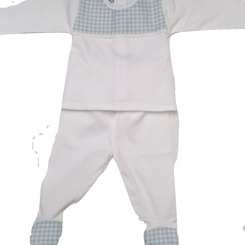 BABIDU 2 PIECE WHITE AND BLUE BABY'S SET BABYS SPANISH WEAR
