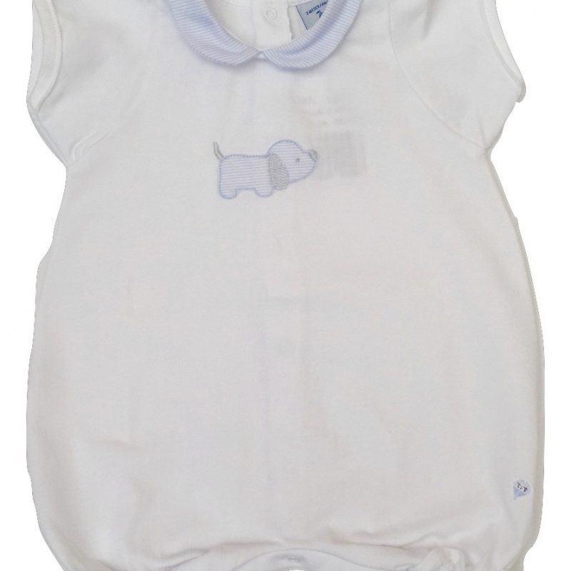 BABIDU WHITE AND BLUE BABY'S ROMPER SPANISH CHILDREN'S WEAR