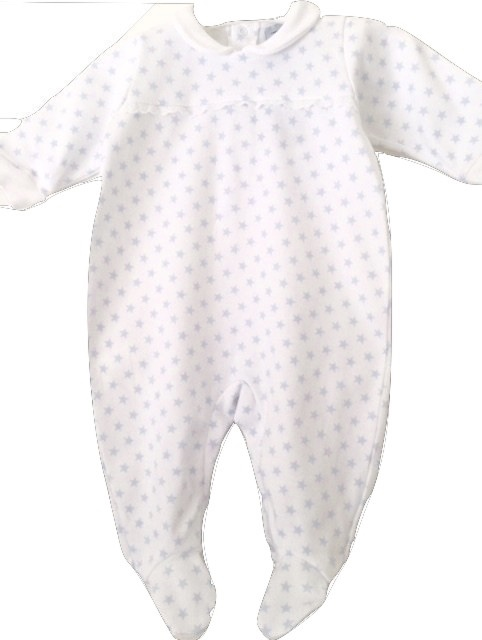BABIDU WHITE AND BLUE BABY GRO SPANISH CHILDREN'S WEAR