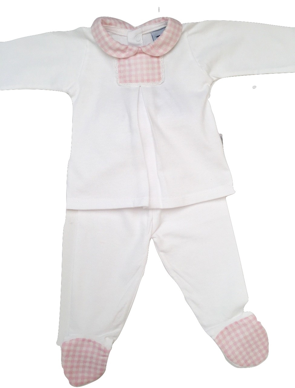 BABIDU WHITE & PINK 2 PIECE SET SPANISH CHILDREN'S WEAR