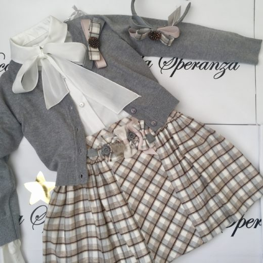 DAGA GIRLS DAGA BEIGE CHECK SKIRT SET