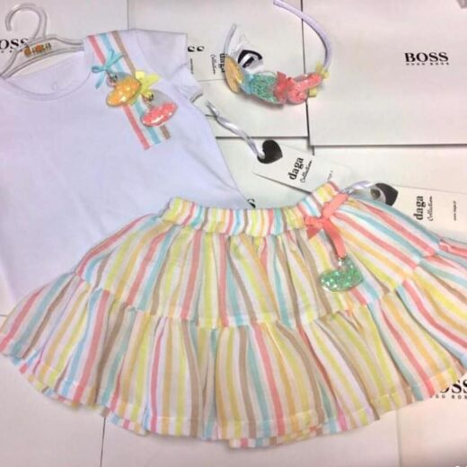 DAGA GIRLS CANDY STRIPE SKIRT SET
