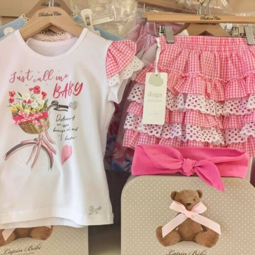 DAGA GIRLS PINK GINGHAM SKIRT SET